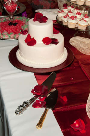 Wedding Cake on the Candy Table photo