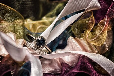 Bride's Wedding and Engagement Ring in Garter