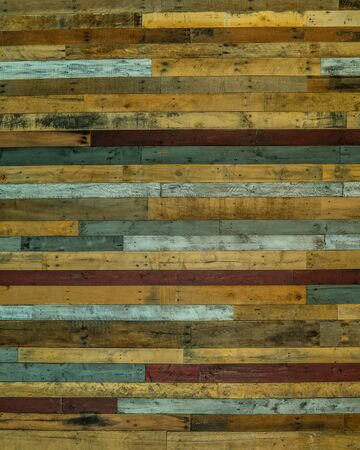 Pallet wood wall with nails and natural and painted boards horizontal copy space flat-lays and backgrounds