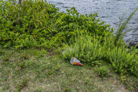 Chips or a snack bag dumped on the ground in the park at the lake by the shoreline careless polluting the environment