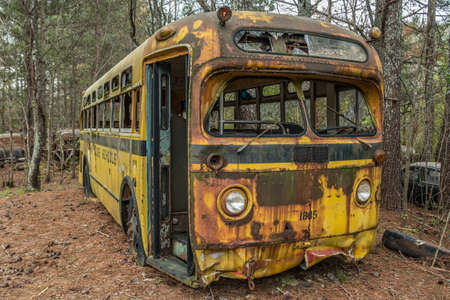Empty 1950's vintage old rusty school bus abandoned outdoors in the woods to decay