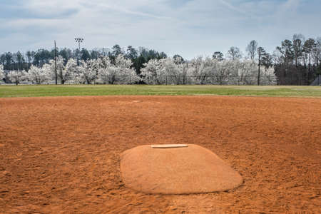 Standing in front of a pitchers mound looking towards the outfield with white flowering trees in the background behind the baseball field on a overcast spring day