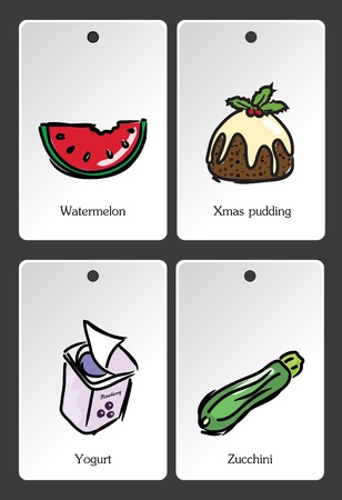 Food illustration vocabulary card Vector