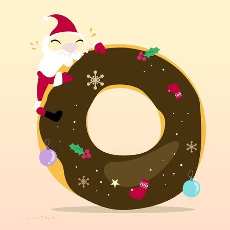 Santa is eating Donut Stock Vector - 10674904