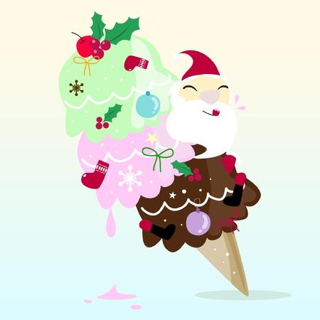 Santa is tasting ice cream Vector