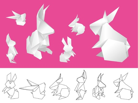 asian bunny: Origami paper rabbits