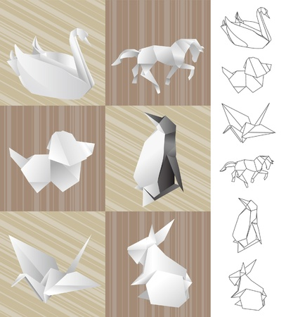 Origami paper animals Vector