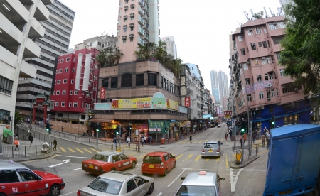 View of Shanghai Street in Mongkok, Hong Kong