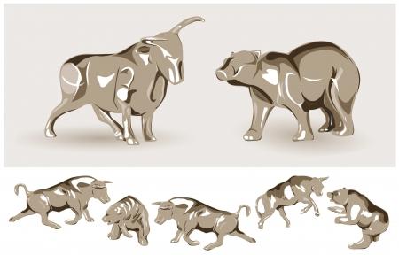toros bravos: Bajista y alcista ilustración Vectores