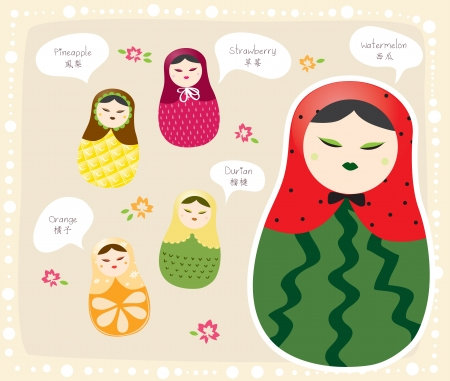 Russian Doll Fruits series Vector