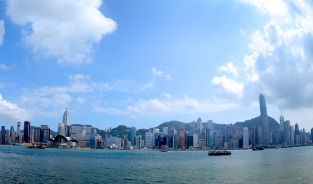 Hong Kong skyline over Victoria Harbour