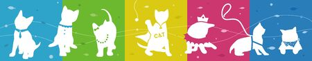 sit back: Cats collection with colorful background