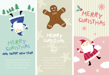 Christmas banners with santa and ginerbread Illustration