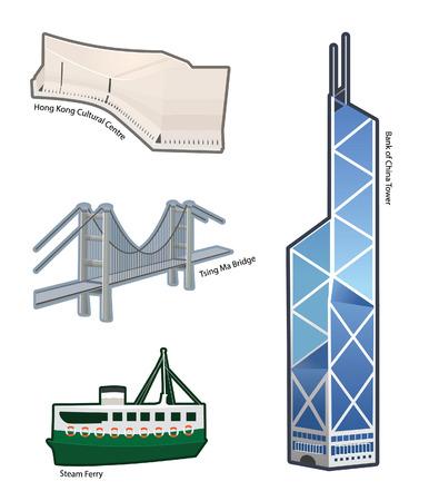 世界の有名なランドマークと Hong kong アイコン