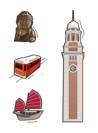World famous landmarks and icons in Hong Kong Vector