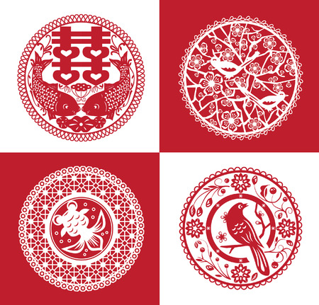 Collection of traditional handmade paper cutting Vector