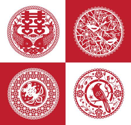 schneiden: Sammlung von traditionellen handgemachten Papierschneide Illustration