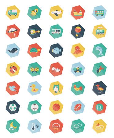 pentagon: Set of Pentagon pastel icons Illustration