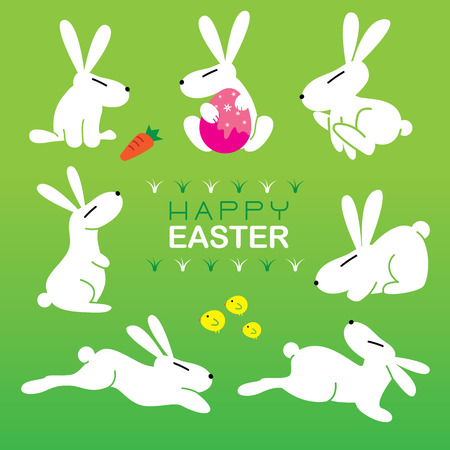 Collection of 7 rabbits for easter Vector