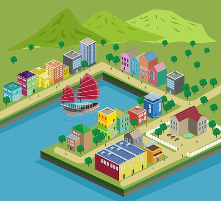 Illustration miniature buildings and roads Illustration