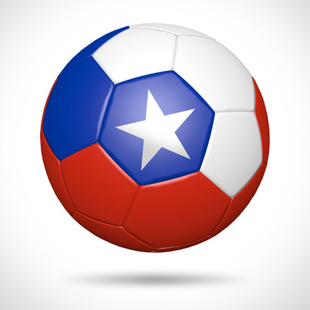3D soccer ball with Chile flag element and original colors  Stock Photo