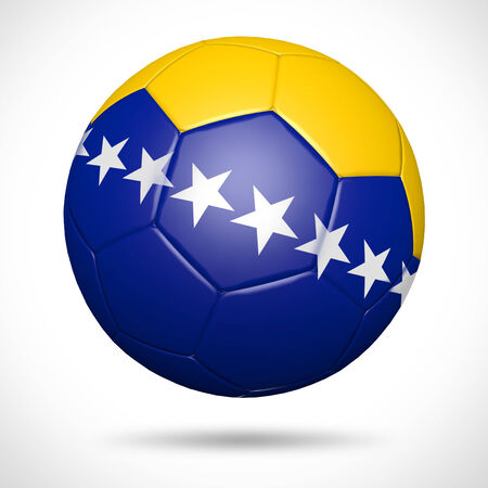 3D soccer ball with Bosnia and Herzegovina flag element and original colors