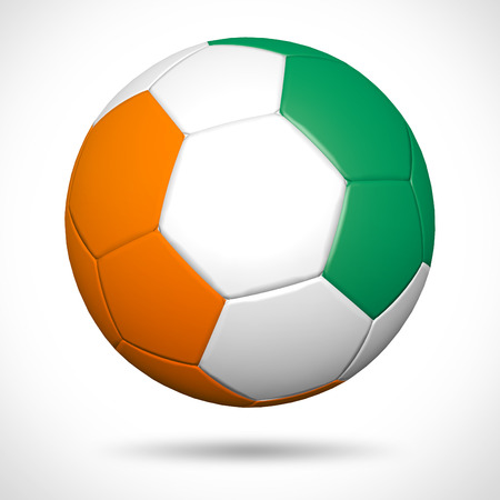 cote d ivoire: 3D soccer ball with Ivory Coast flag element and original colors  Stock Photo