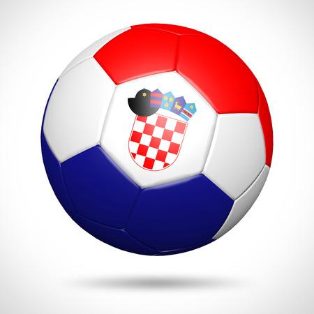 bandera de croacia: Balón de fútbol 3D con Croacia elemento bandera y los colores originales Foto de archivo