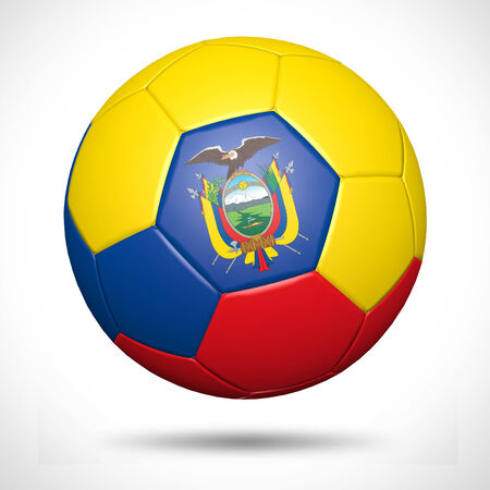 ecuador: 3D soccer ball with Ecuador flag element and original colors  Stock Photo