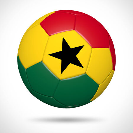 3D soccer ball with Ghana flag element and original colors  Stock Photo