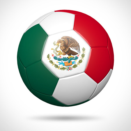 3D soccer ball with Mexico flag element and original colors