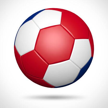 bandera de costa rica: Balón de fútbol 3D con Costa Rica elemento bandera y los colores originales Foto de archivo
