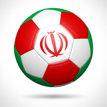3D soccer ball with Iran flag element and original colors  Stock Photo