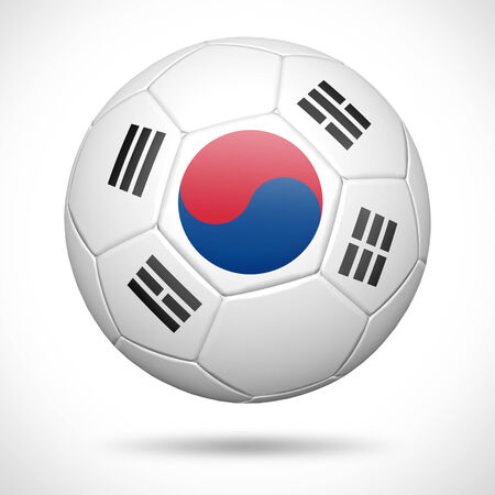 3D soccer ball with  South Korea flag element and original colors