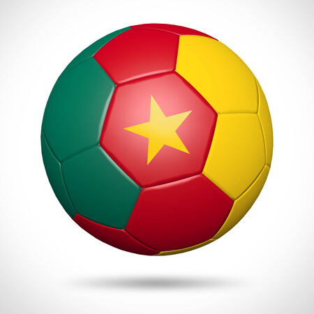 3D soccer ball with Cameroon flag element and original colors