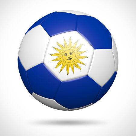bandera de uruguay: Balón de fútbol 3D con la bandera de Uruguay elemento y colores originales
