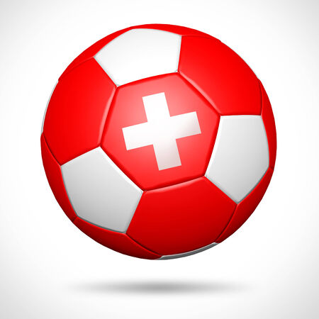 switzerland flag: 3D soccer ball with Switzerland flag element and original colors