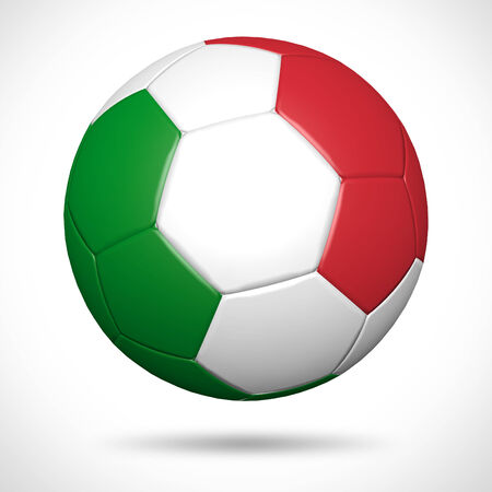 italy flag: 3D soccer ball with Italy flag element and original colors  Stock Photo