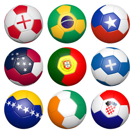 chile flag: 3D soccer ball with flag element and original colors