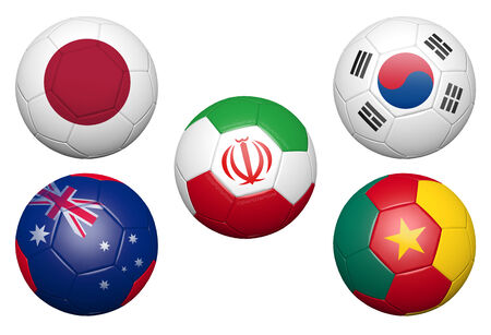 3D soccer ball with flag element and original colors