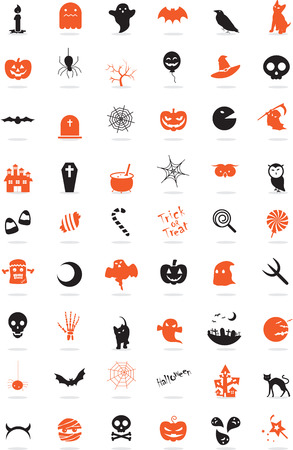 cat s: Icon Set, Halloween things with orange and grey  Illustration