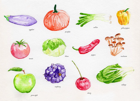 Vegetable and Fruit water Color painting