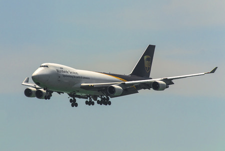 HONG KONG - August 30 : UPS Airlines  Boeing 747 arrive in Hong Kong International Airport on August 30, 2014 in Hong Kong.
