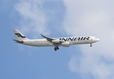 Finnair Plc airbus is taking off in Hong Kong