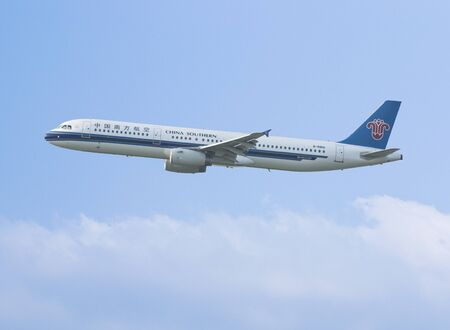 China Southern Airlines airbus is taking off in Hong Kong