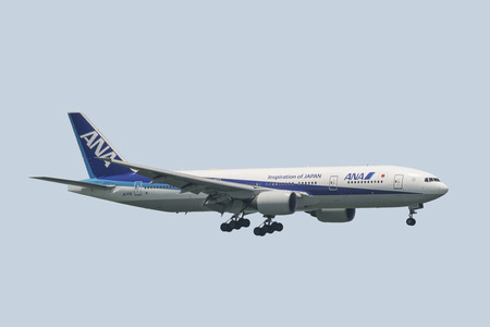 HONG KONG  AUGUST 30: All Nippon Airways Boeing 777 arrive in Hong Kong International Airport on August 30 2014 in Hong Kong. ANA is a Japanese airline based in tokyo.