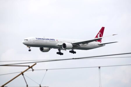 HONG KONG  May 1: Turkish Airlines Boeing 777 arrive in Hong Kong International Airport on May 1 2015 in Hong Kong. Turkish Airlines is the national flag carrier airline of Turkey. Editorial