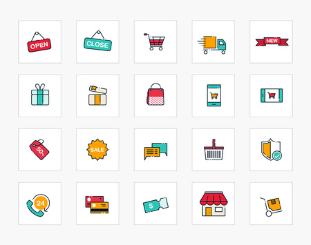 Set of line modern color icons for shopping and retail