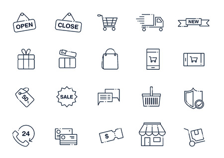 retail shopping: Set of line style icons for shopping and retail