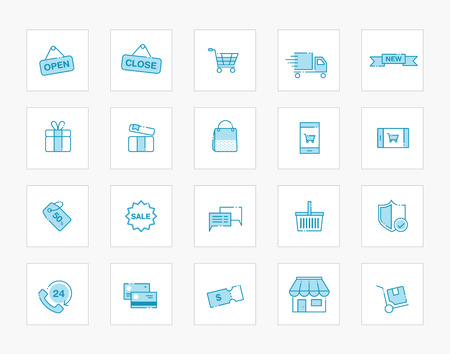 Set of line modern blue icons for shopping and retail Illustration